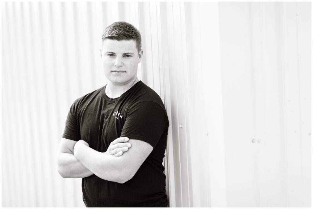 Senior boy farm session | senior boy metal | Iowa Senior Photographer | CB Studio
