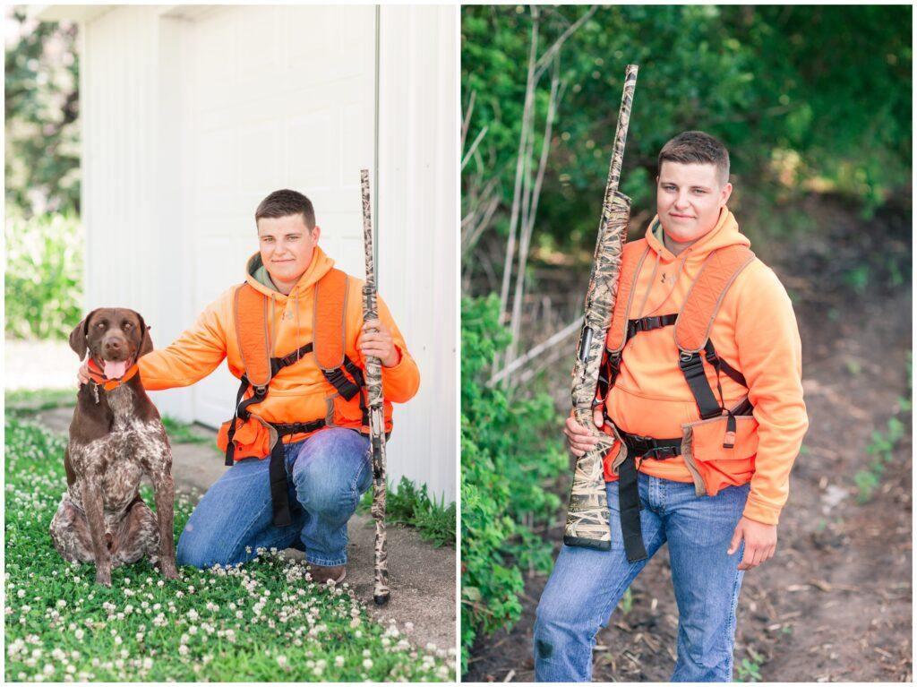 Senior boy hunting session | senior boy pheasant hunting | Iowa Senior Photographer | CB Studio