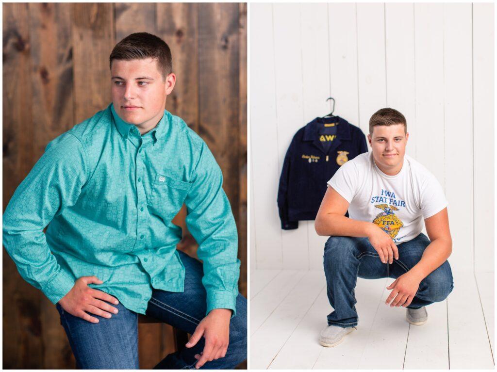 Senior boy poses | senior boy FFA photo session | Iowa Senior Photographer | CB Studio