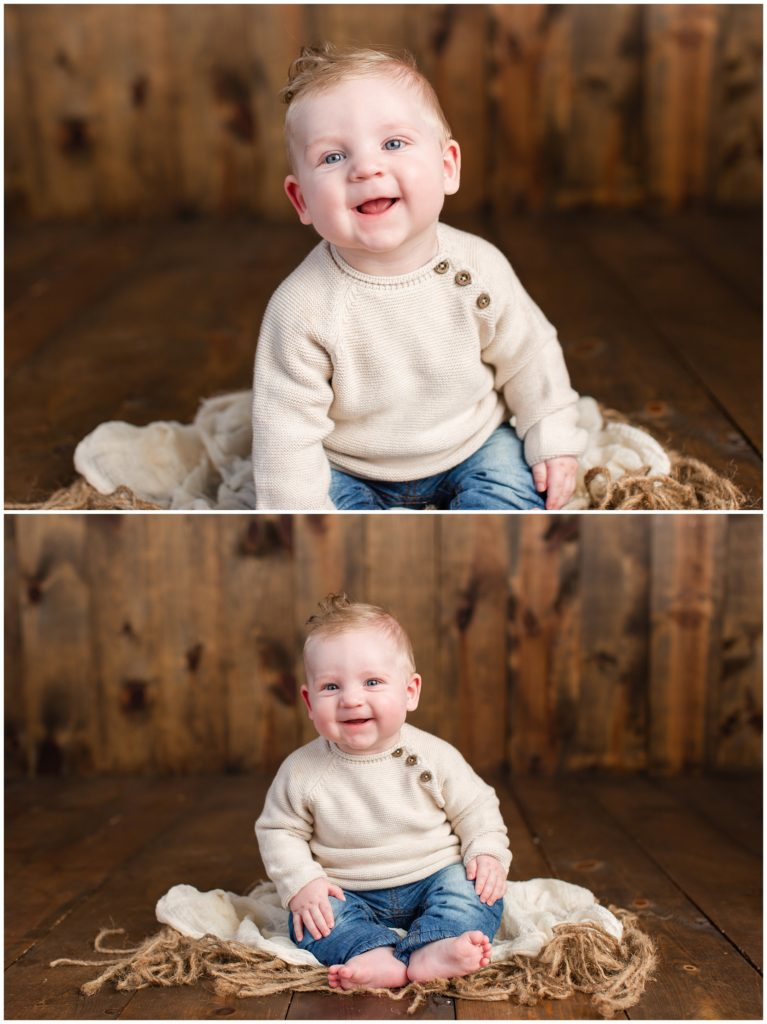 6 month old baby boy sitting on textured rugs blankets on a wood background wearing a cream colored sweater | Sitter Session | Iowa Baby Photographer | CB Studio