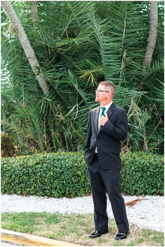 Groom with green tie at The Godfrey Hotel Tampa | Tampa Bay Wedding | CB Studio