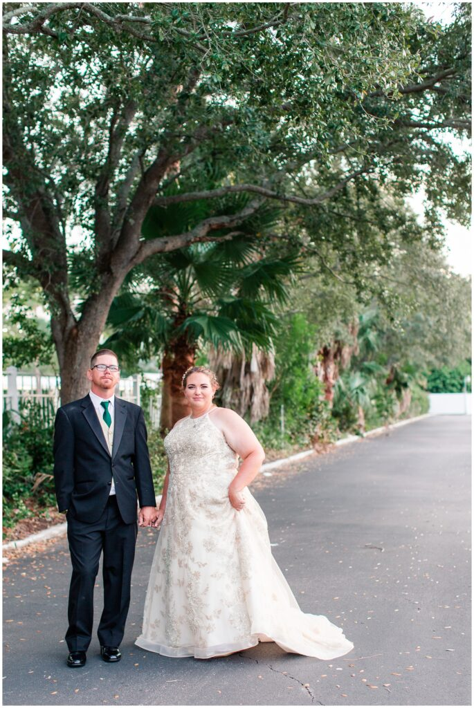 Bride in champagne dress and groom at The Godfrey Hotel Tampa | Tampa Bay Wedding | CB Studio