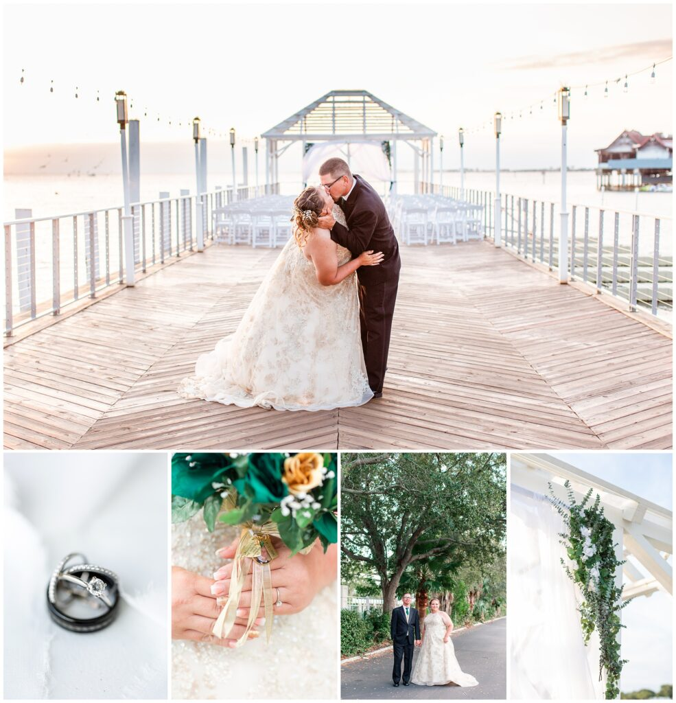 Green and gold wedding over looking Tampa Bay at sunset at the Godfrey Hotel & Cabanas is Tampa, FL. | CB Studio