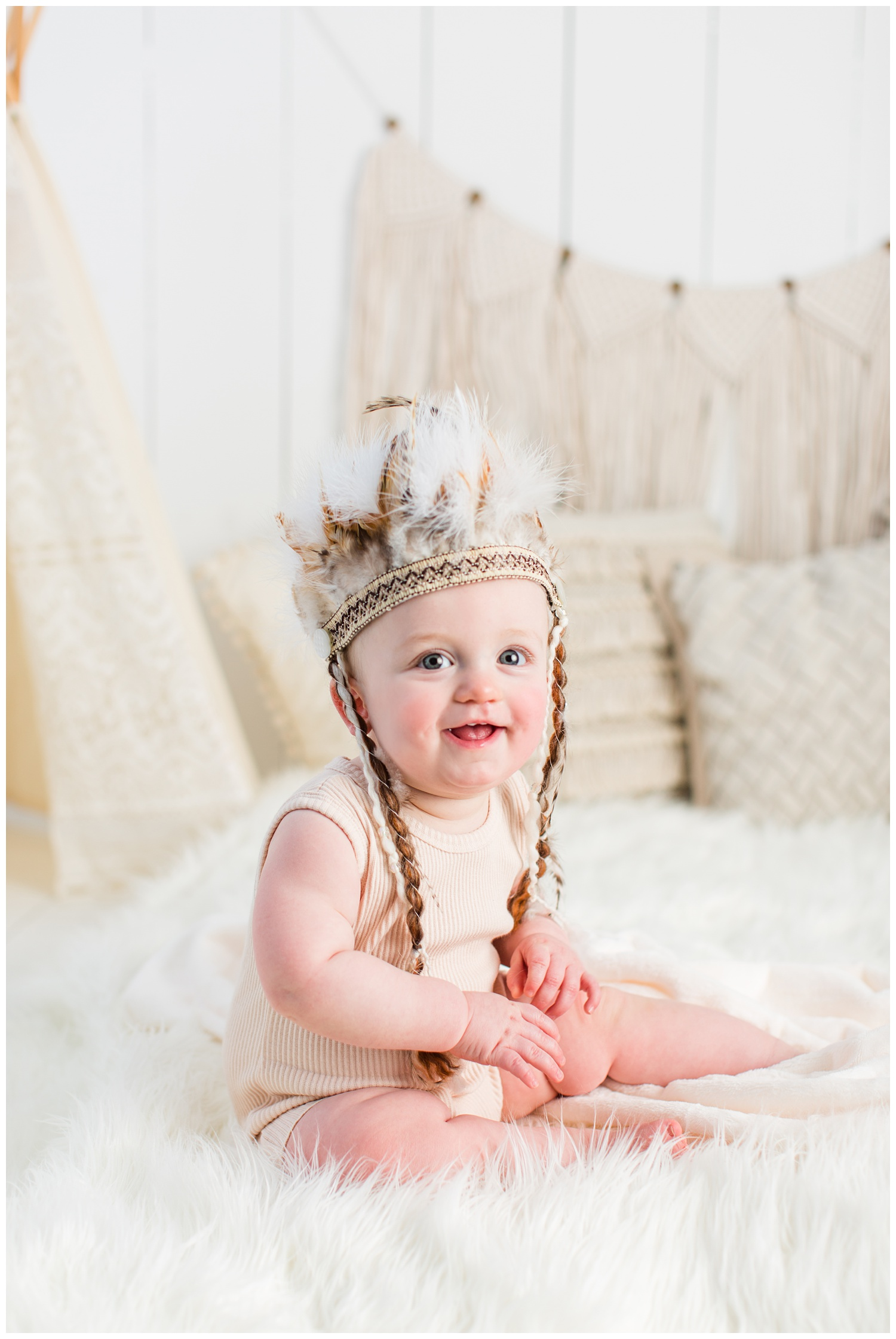 Boho style baby sitter session | Iowa Baby Photographer | CB Studio