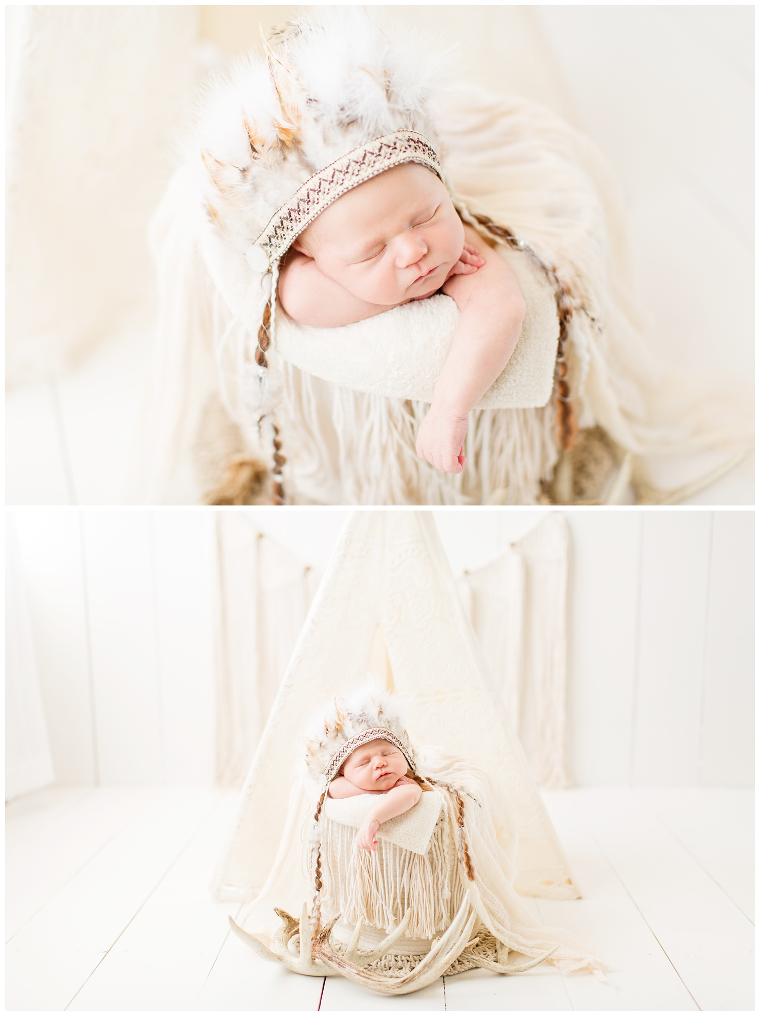Newborn baby posing in an Indian theme photography set up wearing an Indian headdress