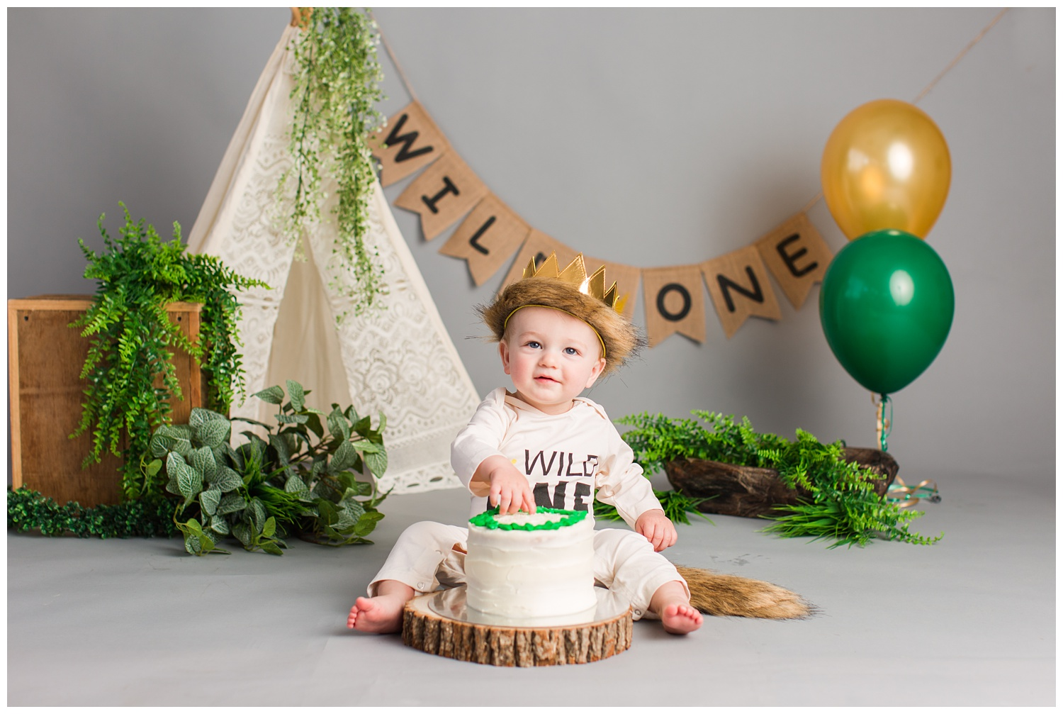 Baby Cullen poses for Where The Wild Things Are themed cake smash photoshoot.