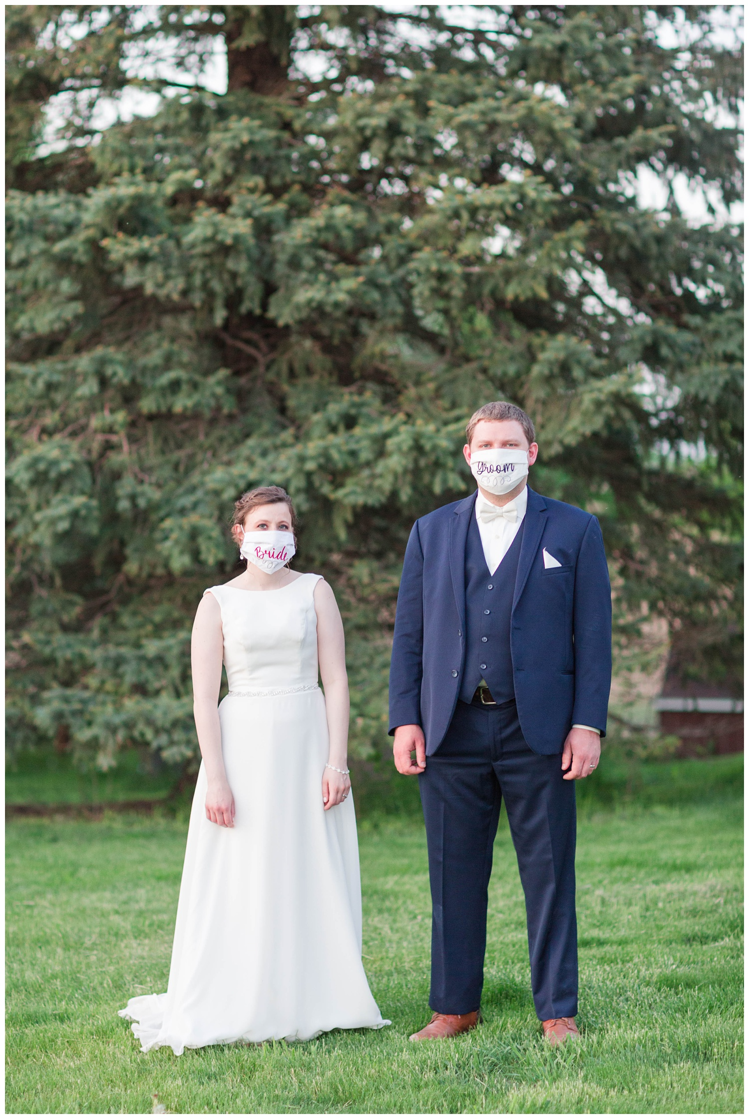 Bride and groom wear custom masks during a social distance wedding reception in Algona Iowa amidst the Covid-19 pandemic | CB Studio