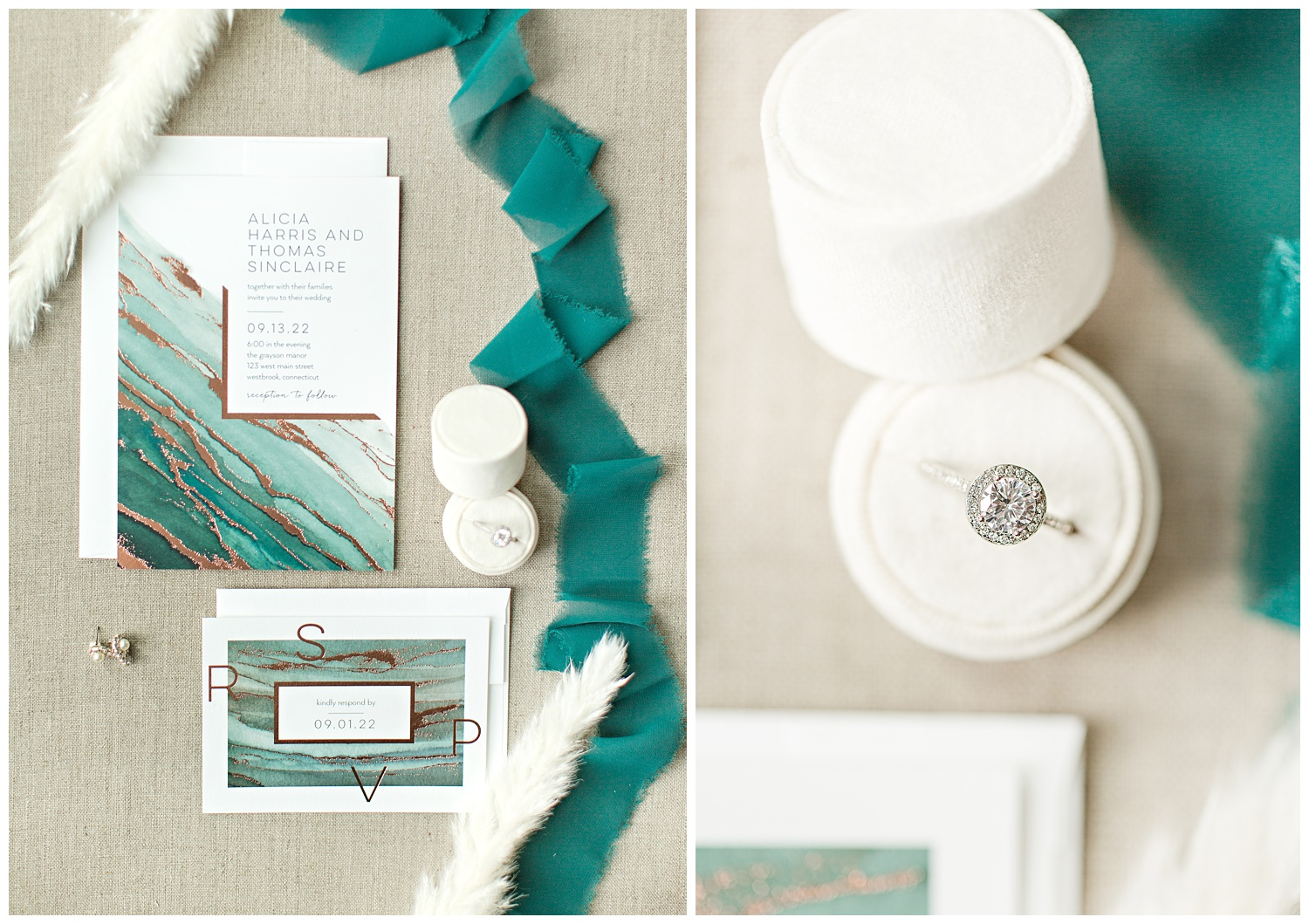 Teal watercolor and copper foil stamped wedding invitation suite from Shutterfly beautifully styled with pampas grass, cream ring box and teal frayed edge ribbon.