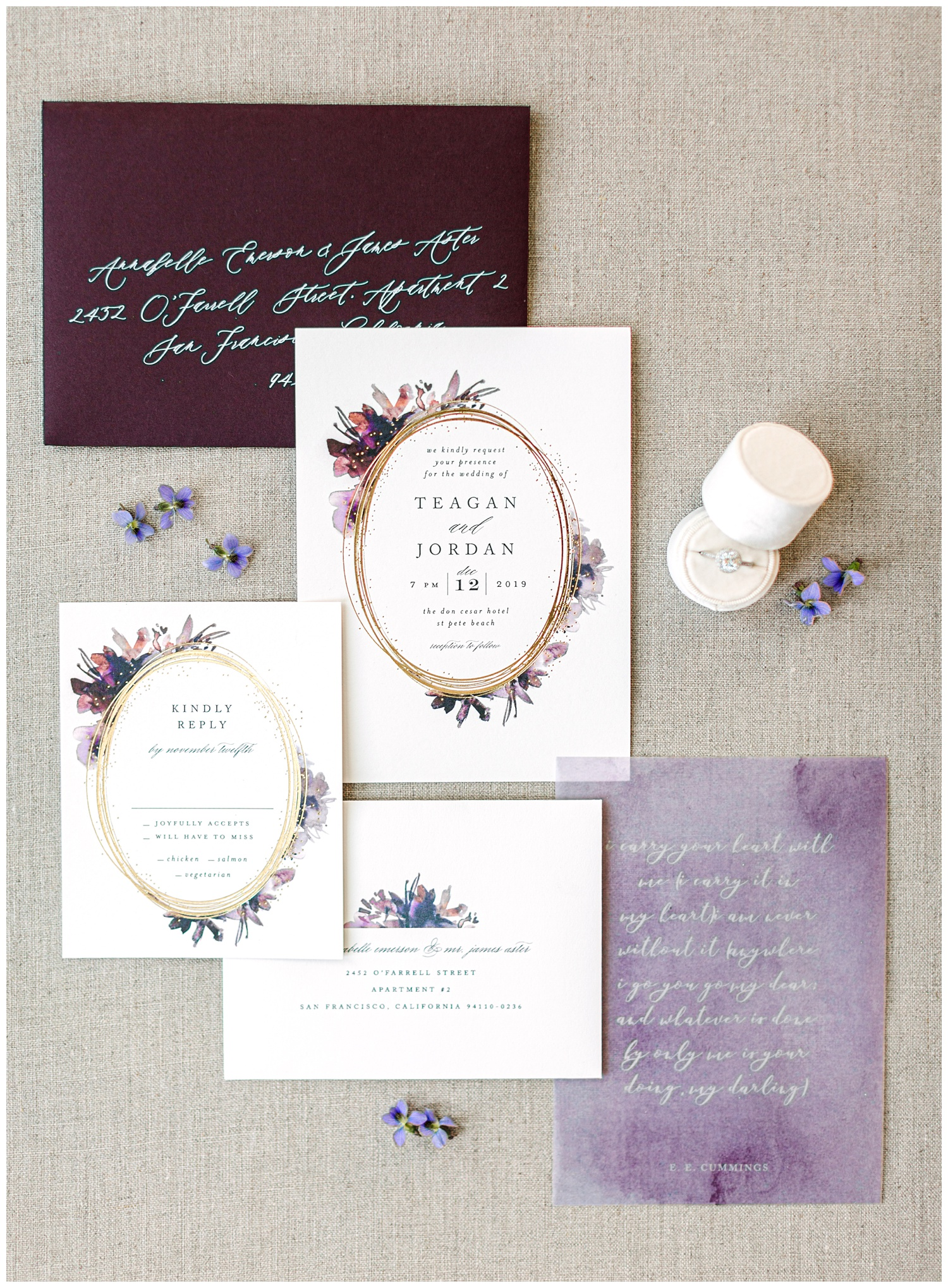 Deep purple and plum watercolor floral wedding invitation suite from Minted complete with gold foil and vellum overlay beautifully styled with purple florals and a cream ring box.