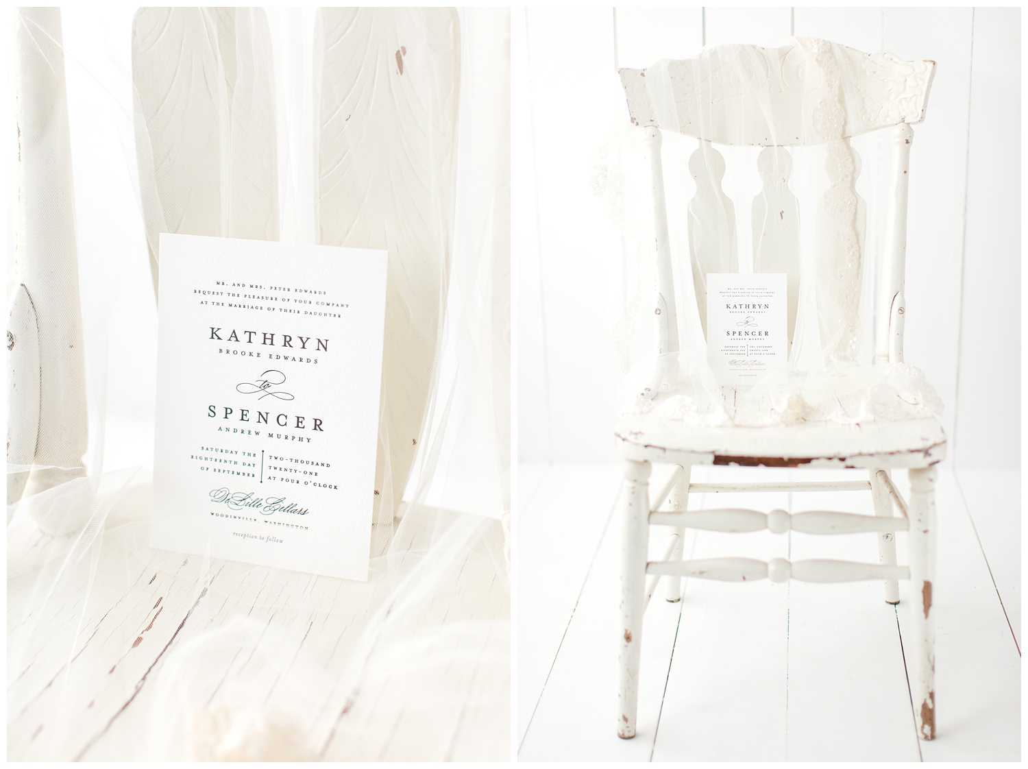 Simple white letter-pressed wedding invitation on linen paper from Minted beautifully styled with an antique white chair and wedding veil.