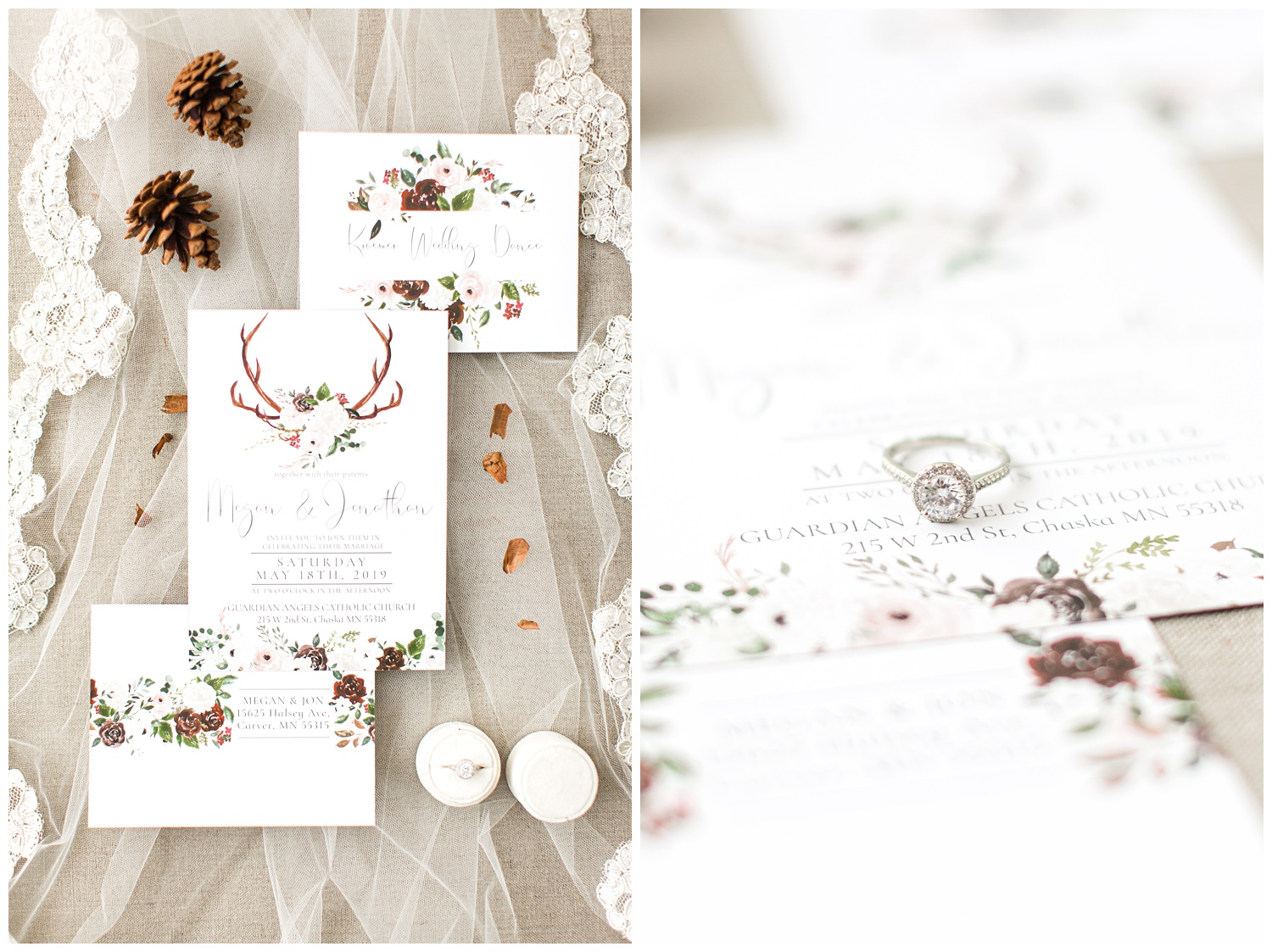Brown, green and cream watercolor floral/deer antler wedding invitation from Phoenix Home Studio beautifully styled on a wedding veil complete with pine comes and cream ring box.