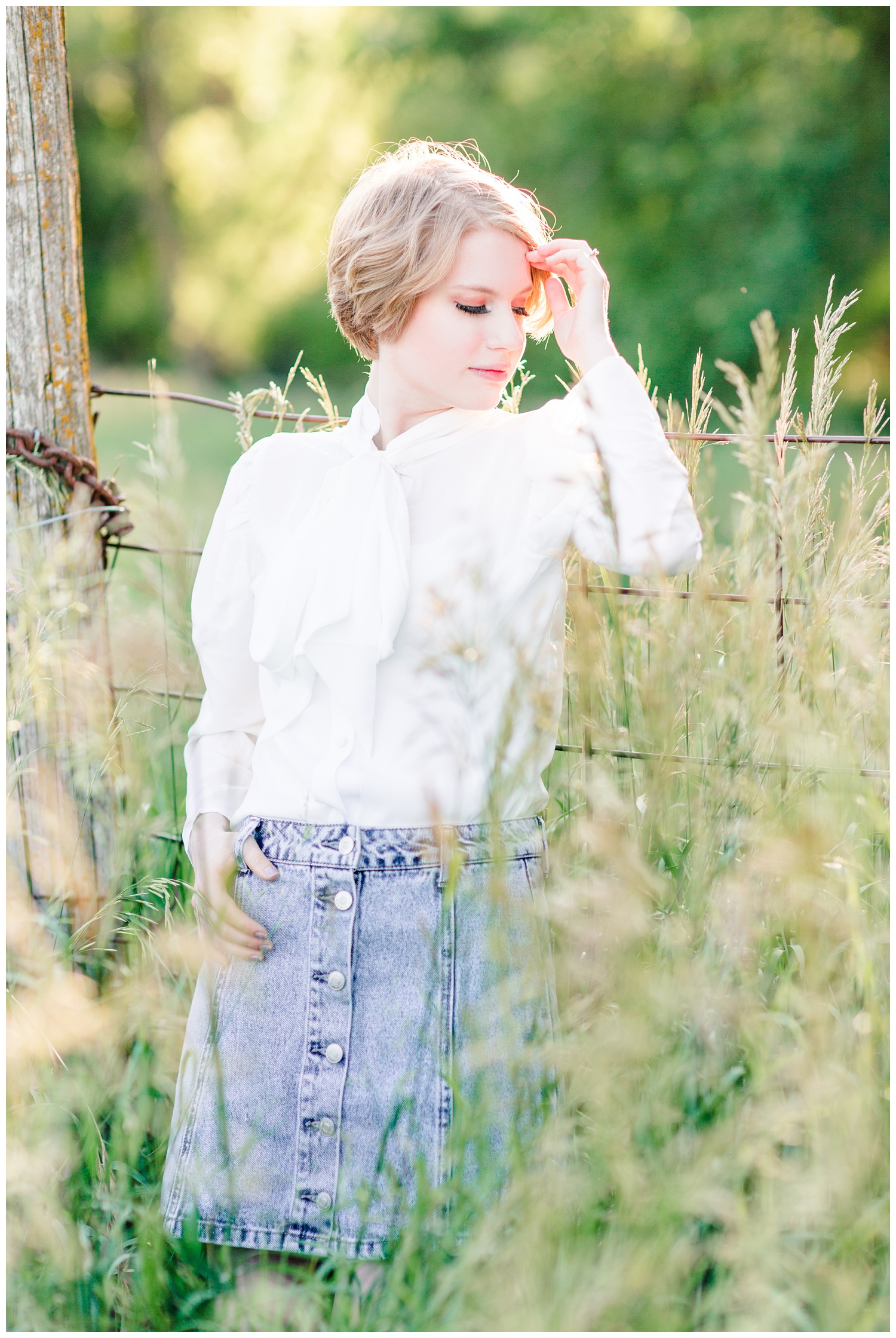 Vintage, film inspired senior photoshoot at golden hour in a grassy field. | CB Studio