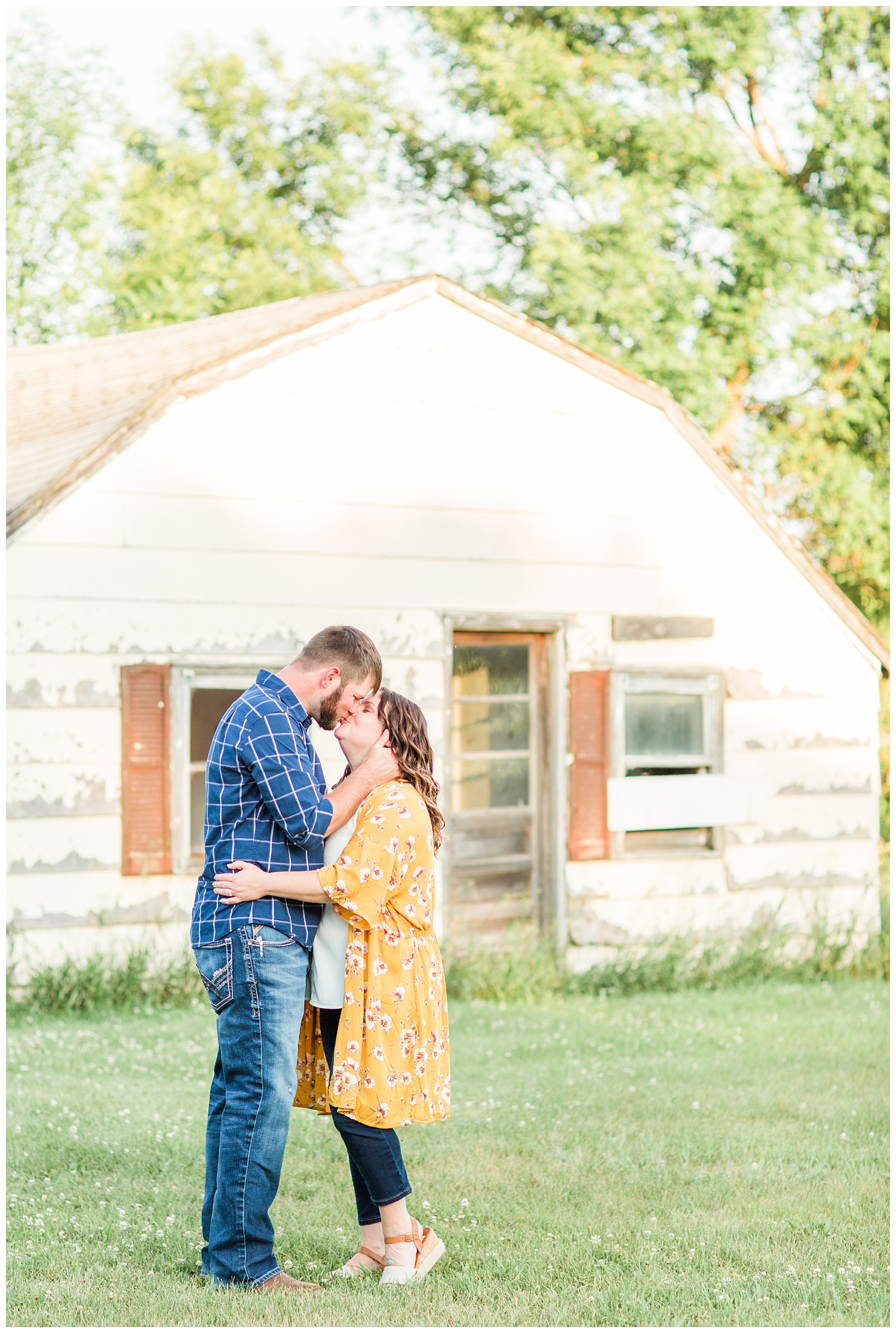 Engaged couple near an abandoned home on a farm in north central Iowa | CB Studio