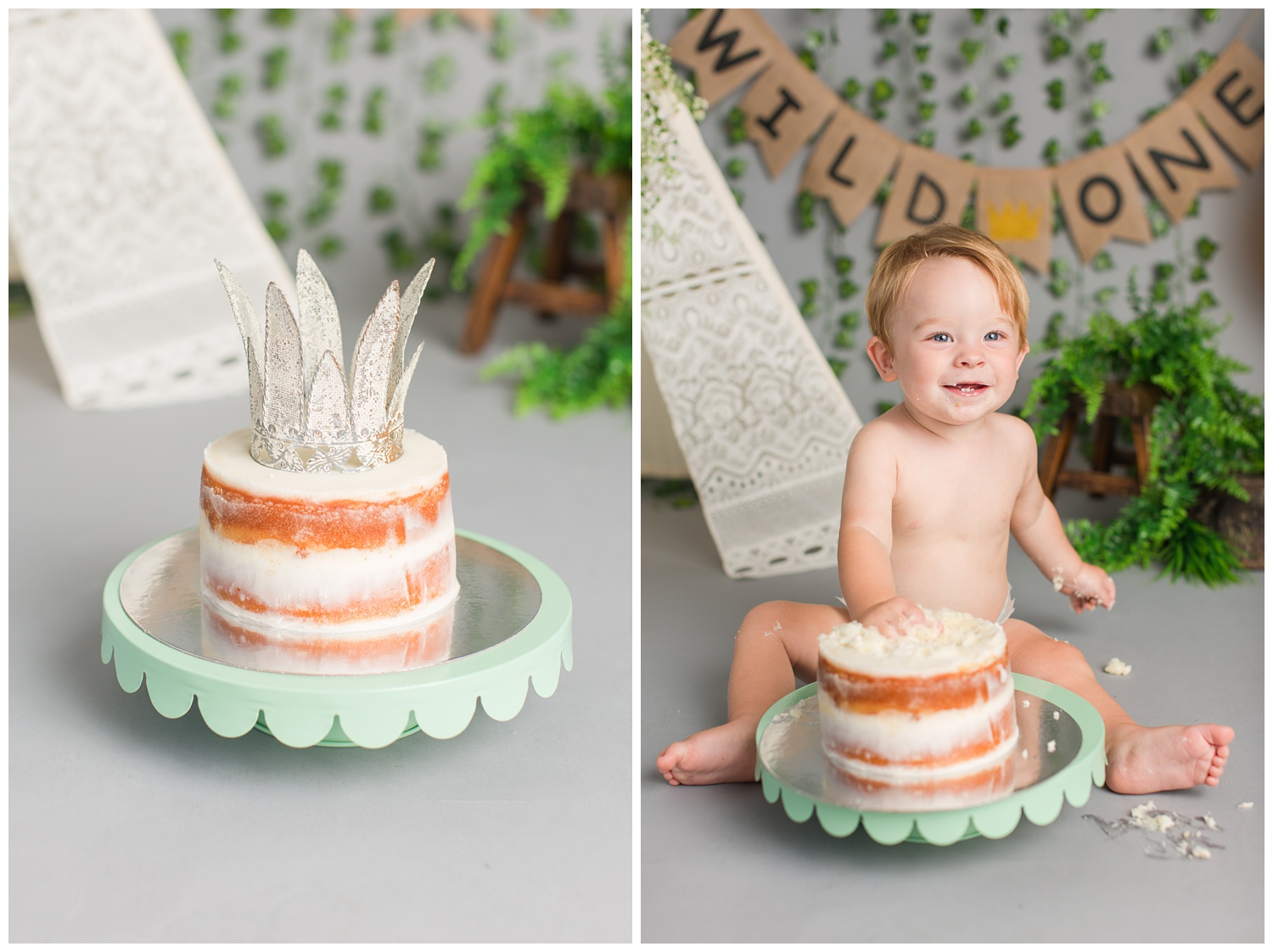 Wild One Where the Wild Things Are themed cake smash photography with a naked cake with a crown cake topper | CB Studio