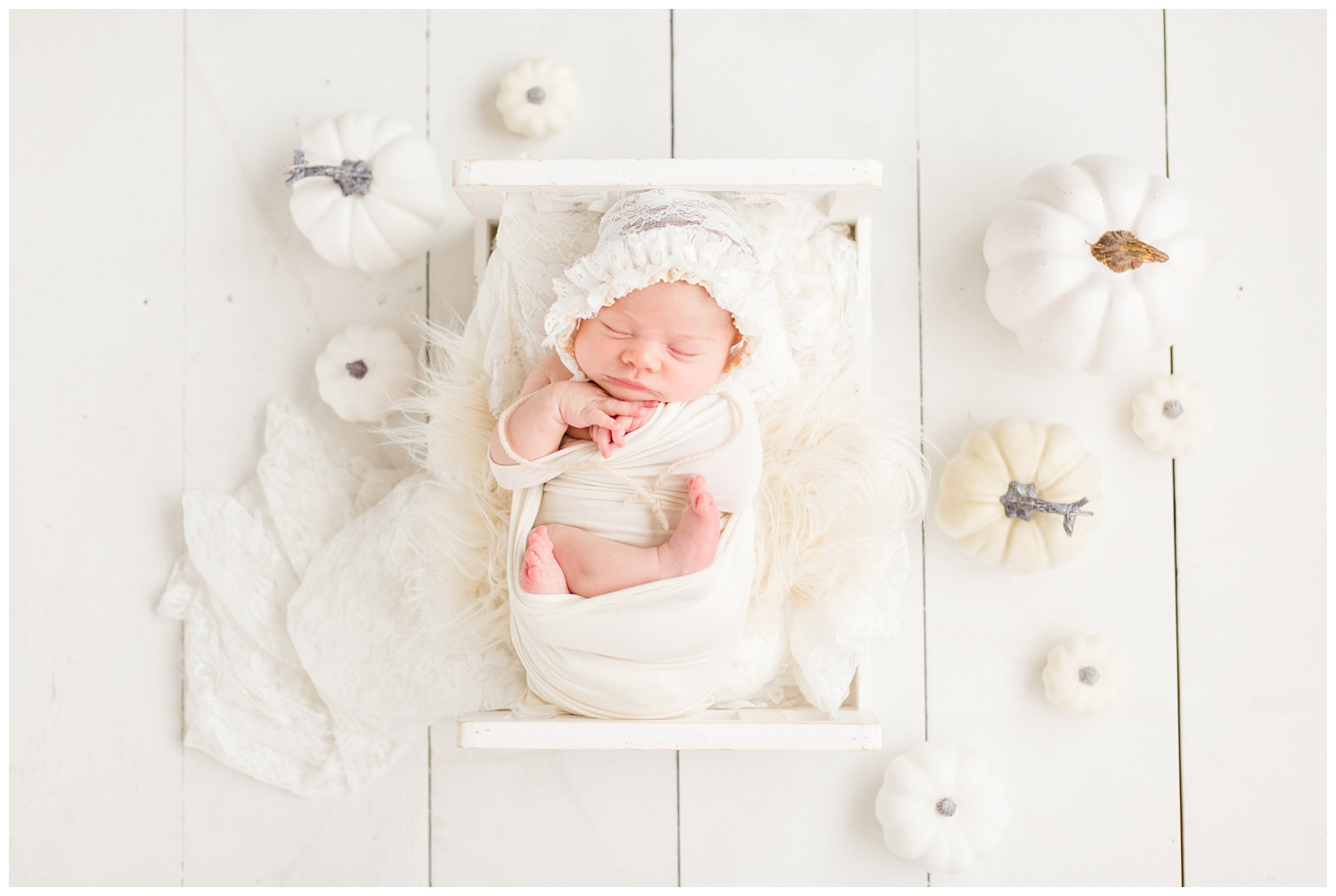 Newborn baby girl wrapped in white snuggled on a white baby bed surrounded by white pumpkins in a light and bright fall inspired newborn pose setup   CB Studio
