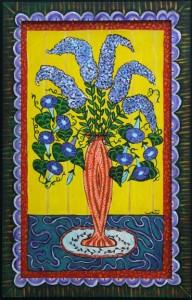 """In Full Bloom""  by Sarah Rakesacrylic on wood panel & frame 32"" x 20.5"" artist's frame $725  (10677"