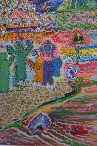 """detail """"Road to Heaven"""" by Alpha Andrews   mixed media on canvas in wide gold leaf frame  Was $1100  On Sale Now $900  (10854)"""