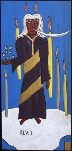"""Chapter One-Revelations"" dated 1987  by Leroy Almon   acrylic on carved wood 23.25"" x 11.25""   $1500  #10916"