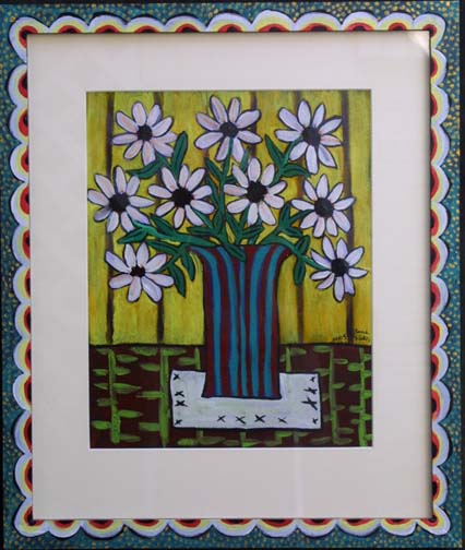 """""""Wild Daisy on a Tabletop""""  by Sarah Rakes in artist's frame dated 2005 acrylic on paper and wood 18.5"""" x 22"""" artist's frame $490   (8268)"""