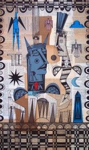 """A Gathering of the Moon Tribe""  by Bruce New  pen & ink on found paper collage  30"" x 18""  in black mat & frame  $950  #10645"