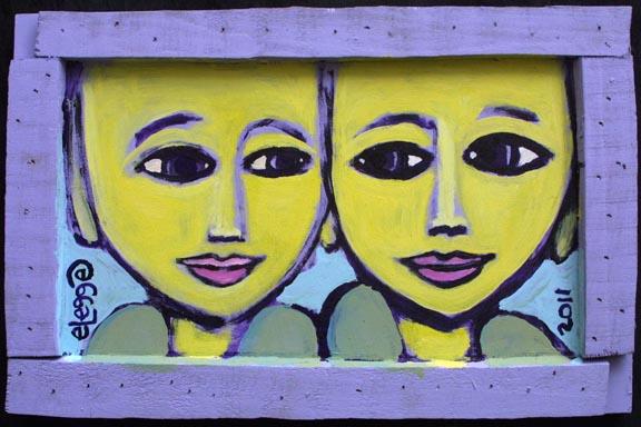 """Buddahs"" by Eric Legge  acrylic on found wood  9.5"" x 14.5"" x 1""  in artist's handmade frame  $200  #10656"