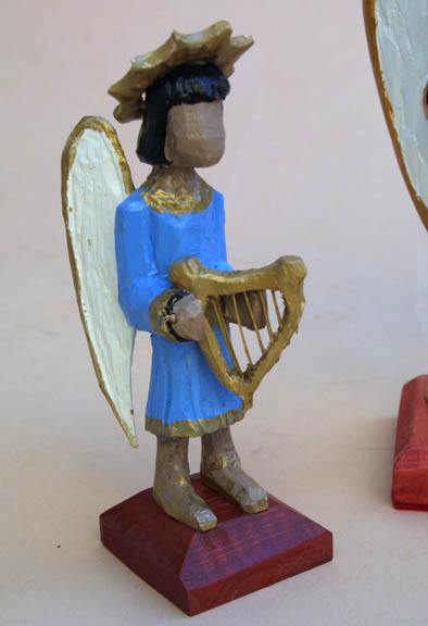 """left angel """"Three Angels"""" by Roger Mitchell carved painted wood tallest aprox 10"""" $250 for 3 #10841"""