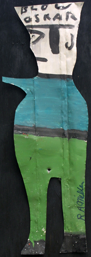 """""""Blow Oscar""""  green pants by R A Miller  paint on metal cut out  aprox. 30"""" tall  $300  #10887"""