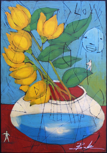 """""""Spring"""" by Michael Banks, mixed media on wood 24"""" x 16.5"""" unframed $800 #10974"""