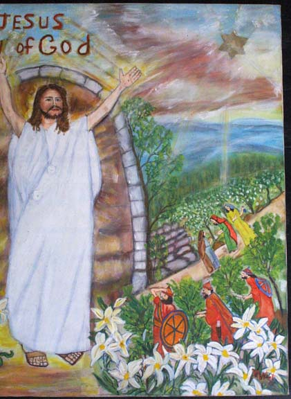 """detail """"Jesus, Son of God"""" c. 1992 by Myrtice West oil on canvas 30"""" x 39.75"""" x 1.25"""" unframed $3000 #10997"""