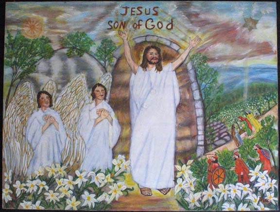 """""""Jesus, Son of God"""" c. 1992 by Myrtice West oil on canvas 30"""" x 39.75"""" x 1.25"""" unframed $3000 #10997"""