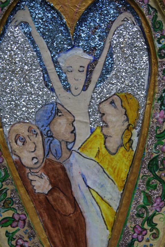 "detail ""Three Fools--Running From Angel""by Hope Atkinson  acrylic on papier mache niche, 16.5"" x 11"" x 1.5"" unframed, $900u   #2913"