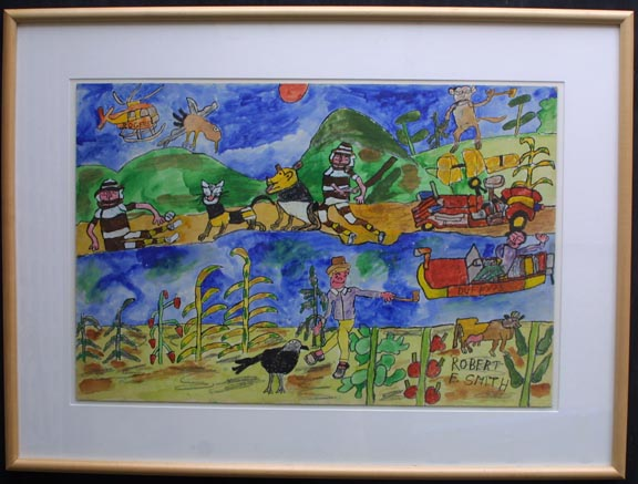 """detail in frame """"And A Wild Time on the River"""" by Robert E. Smith watercolor illustration board 20"""" x 30"""" image in light natural wood frame white mat $800 #3625"""