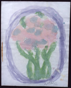 """""""Apricot Floral""""  by Sybil Gibson  acrylic on art paper  20"""" x 16""""  in gold frame, white mat  $700  #4136"""