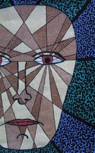 """detail """"Fragmenting Head"""" c. 2004 by Pak Nichols acrylic on paper 24"""" x 22"""" in white mat, black frame $450 #7648"""