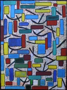 """Chromatics (Consonance and Dissonance)""  by Pak Nichols  acrylic on canvas  24"" x 18""  in black frame  $650   #7928"