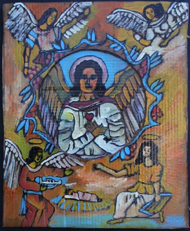 """""""Angel of the Nativity"""" by Rudolph Valentino Bostic  mixed media on cardboard  24.5"""" x 20""""  unframed  $600  #8132"""