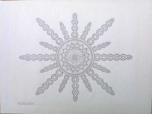 """""""Sun Eye"""" by David Zeldis  graphite on paper  7.5"""" x 9/5""""  white 8 ply mat, grey frame  $4000   #9131"""