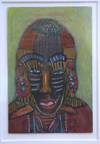 """Siraldo""c. 2006 by Anne Grgich mixed media on paper 6"" x 4"" in 8 ply white archival mat, wide deep bronze color frame $325 #9508"
