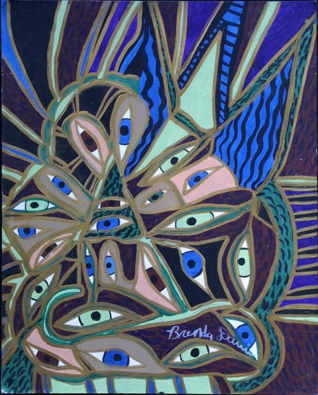 """All Eyes on You"" III  by Brenda Davis  mixed media on cardboard  18"" x 14.5""  unframed  $650  #10486"