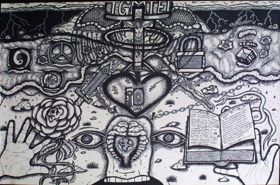 """""""Forgiveness"""" by William Sezah  permanent ink on  heavy paper  36"""" x 23.5""""  $375 unframed  #11172"""