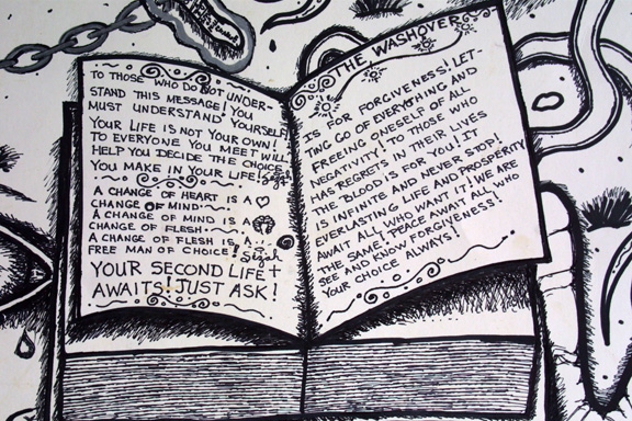 """detail  """"Forgiveness"""" by William Sezah  permanent ink on  heavy paper  36"""" x 23.5""""  $375 unframed  #11172"""