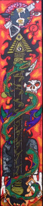 """Lucifer's Spear"" by William Sezah permanent ink on matboard 43"" x 9"" unframed $1000 #11176"