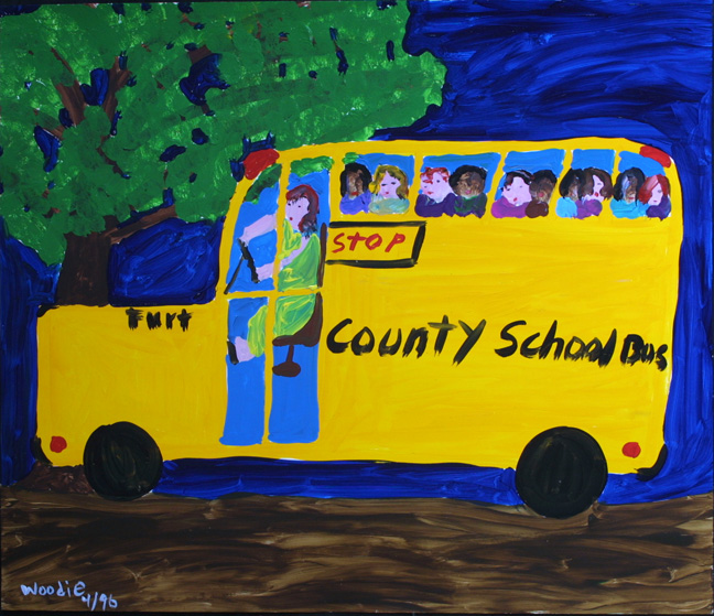 """""""School Bus""""  dated 1996   by Woodie Long  acrylic on paper   18"""" x 32""""  unframed  $1800  #11230"""