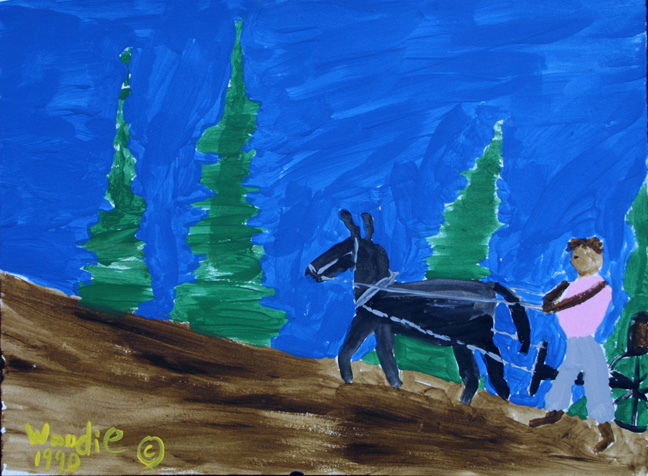 """""""Up Hill Haul- Mule Series"""" dated 1990  by Woodie Long  acrylic on paper in archival white mat, black frame  $325  #11239"""