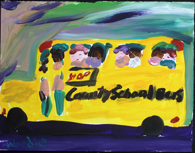 """School Bus on the Go"" by Woodie Long acrylic on paper in white archival mat with black frame $285 #11242"