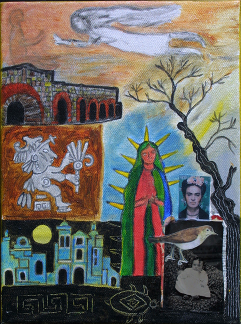 """""""Madonnas"""" by Erika Marquardt  mixed media and collage on canvas wrap  12"""" x 9"""" x 1.5""""  $300  (11253)"""