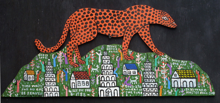"""Cheetah on the Mountain"" by Howard Finster #7270 dated Feb 8, 1988 11"" x 27"" WAS $9000 On Sale for $7200 #11309"