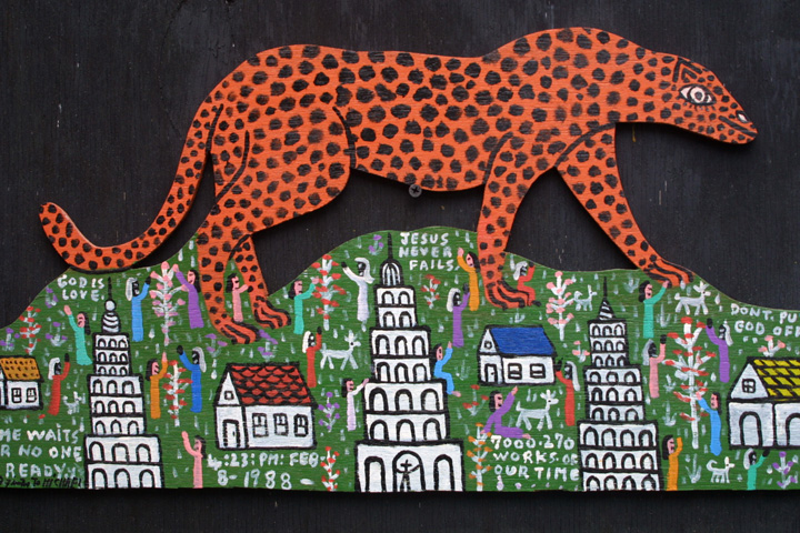 "Detail ""Cheetah on the Mountain"" by Howard Finster #7270 dated Feb 8, 1988 11"" x 27"" WAS $9000 On Sale for $7200 #11309"