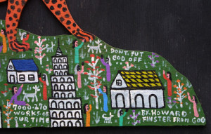 """detail """"Cheetah on the Mountain"""" by Howard Finster #7270 dated Feb 8, 1988 11"""" x 27"""" $9000 #11309"""