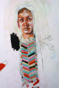 """detail  """"Martyr"""" acrylic, graphite, varnish 30"""" x 40"""" x 1.5"""" on wooden construction with natural wood edges $3000   #11276"""
